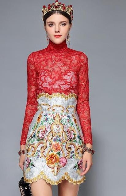 Floral Print Lace Skirt Top