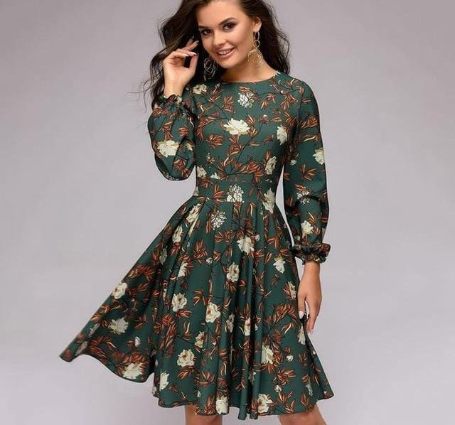 Ruffles Sleeve O-Neck Long Sleeve Party Dress Green