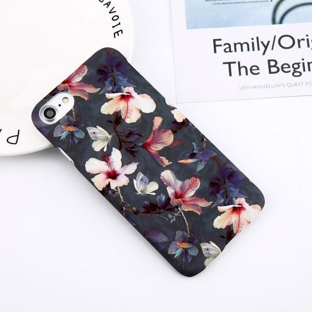 Leaf Print Marble Hard iPhone Case