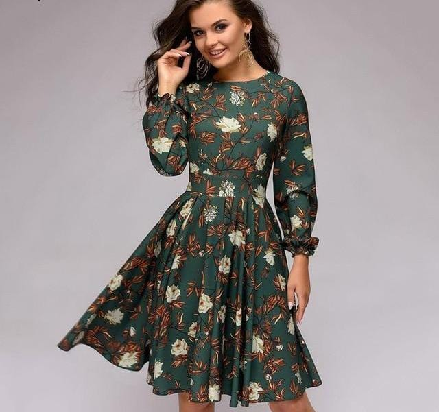 Ruffles Sleeves O-Neck Long Sleeve Party Dress Green