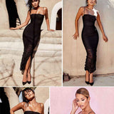 Elgant Summer Strapless Slit Long Maxi Dress