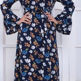 Long Flare Muslim Abaya Dress