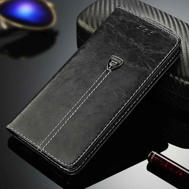 Luxury Flip Leather Wallet iPhone Case Black