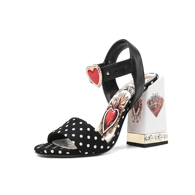 Heart And Flowers Embellished Cute Sandals