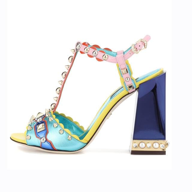 Spiked Rivets Embellished Chic Partywear Sandals