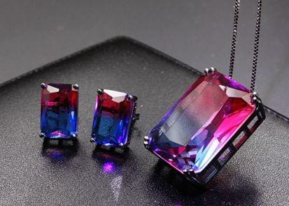 Multicolor Natural Stone Stud Pendant Necklace