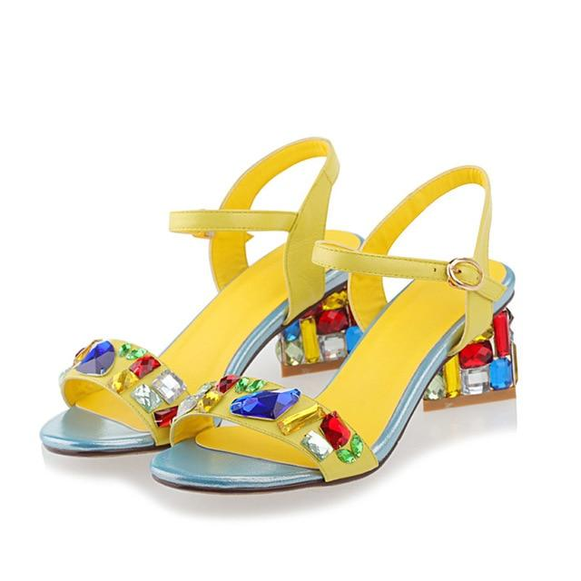 Multicolor Rhinestones Embellished Sandals