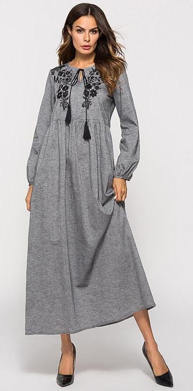 Floral Embroidery Long Sleeve Tassel Maxi Drees Gray