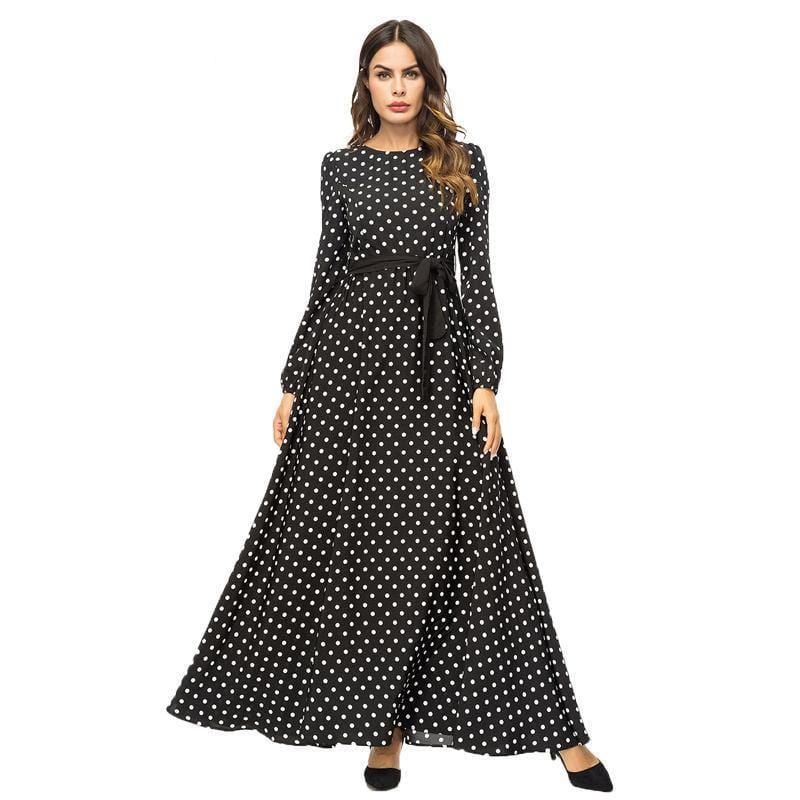 Polka Dot  Black Long Maxi Dress Black