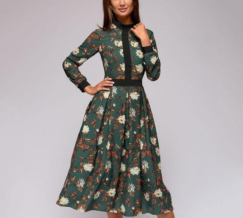 Vintage Patchwork  Print Long  Sleeves Casual Dress