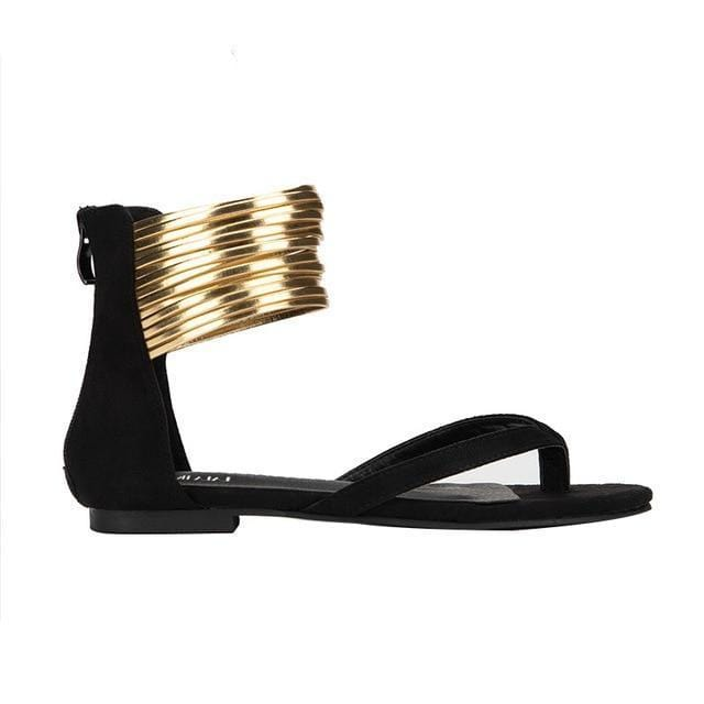 Golden Strings Flat Sandals Flip Flops Black
