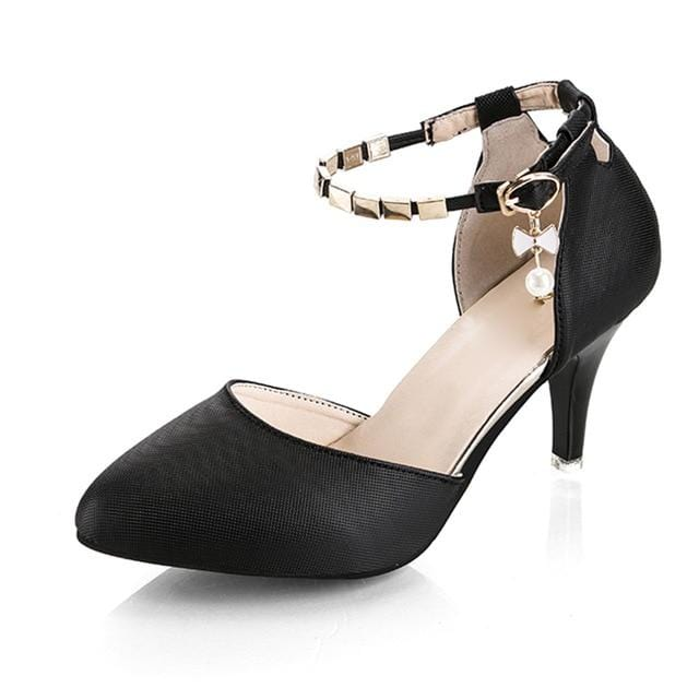 Pearly-Lustre Ankle Strap Bridal Shoes Black