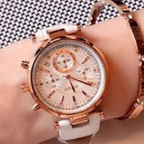 Fashion Waterproof Leather Rose Gold Steel Watch White
