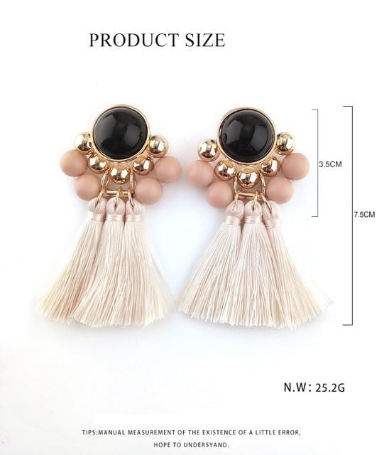 Bohemian Style Silk Tassels Long Earrings