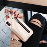 New Style Zipper PU Leather iPhone Case Pink