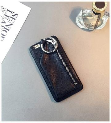 New Style Zipper PU Leather iPhone Case Black
