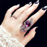 Vintage Big Crystal Butterfly Rings