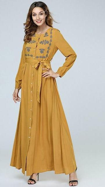 Elegant Floral Embroidery Maxi long Dress
