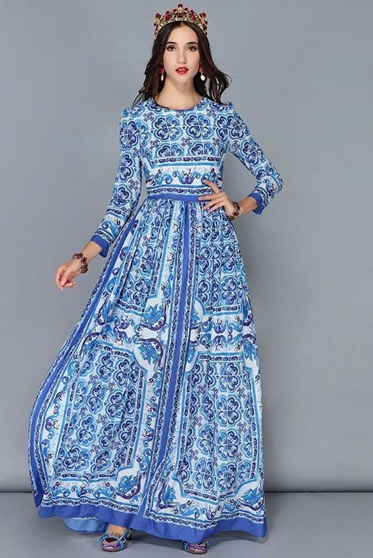 Blue And White Print Chiffon Long Dress Multi