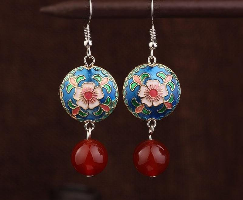 New Handmade Cloisonne Plane Vintage Earrings