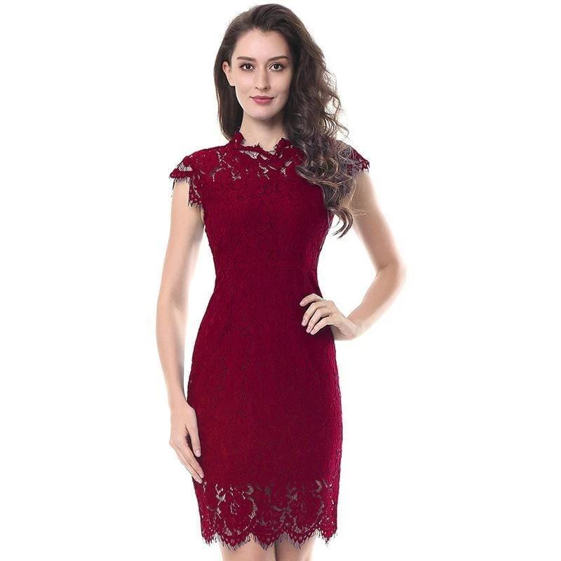 Cutwork Floral Lace Pencil Dress  Wine Red