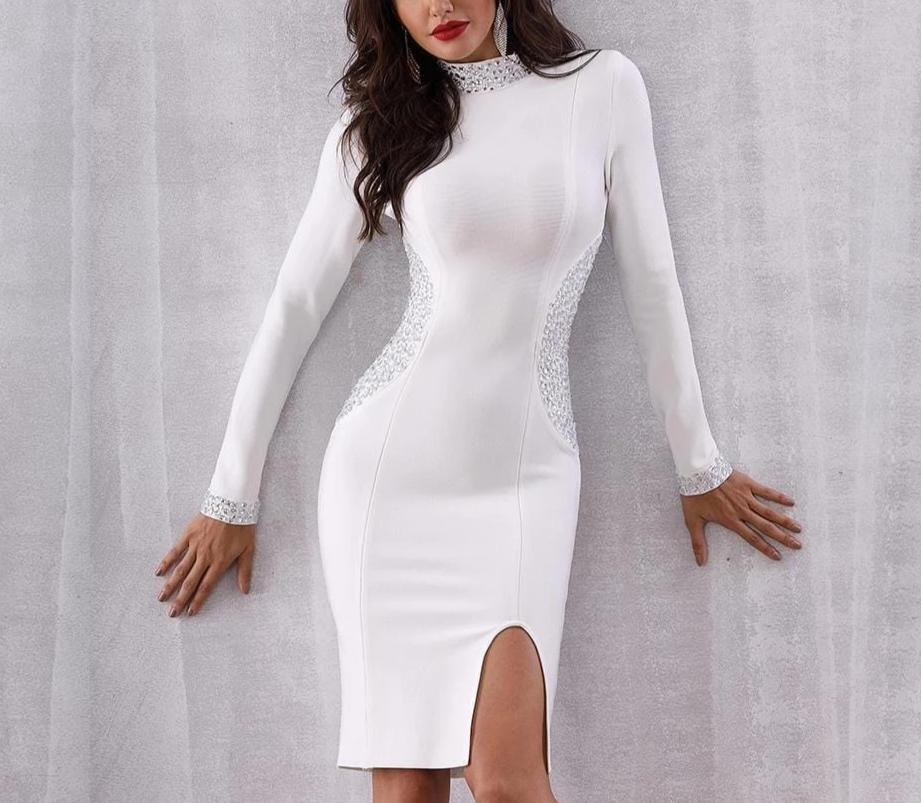 Adyce White Long Sleeve Diamonds Bodycon Bandage Dress White