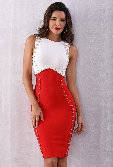 Red & White Sleeveless Bodycon Dress