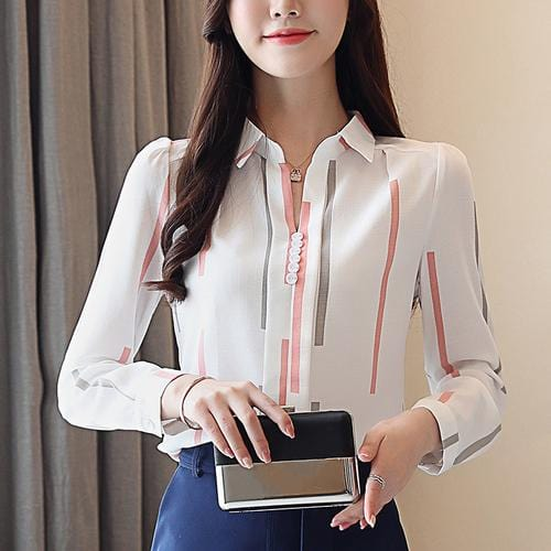 Chiffon Long Sleeved Striped  V- Neck Woman Top Pink