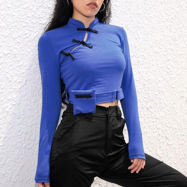 Chinese Style Knitted High Street Crop Top Blue