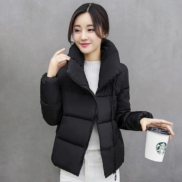 Stand Color Cotton Padded Coat