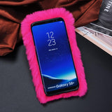 Warm Fluffy Rabbit Fur Soft Phone Case For Samsung Galaxy S9 S8 Plus S7 S6 edge A3 A5 A7 J3 J5 J7 2015 2016 2017 Cute Cover Case