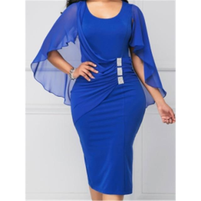 Plus Size Blue Batwing Sleeves Short Dress