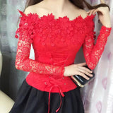 Long Sleeve Chic Lace Top Red
