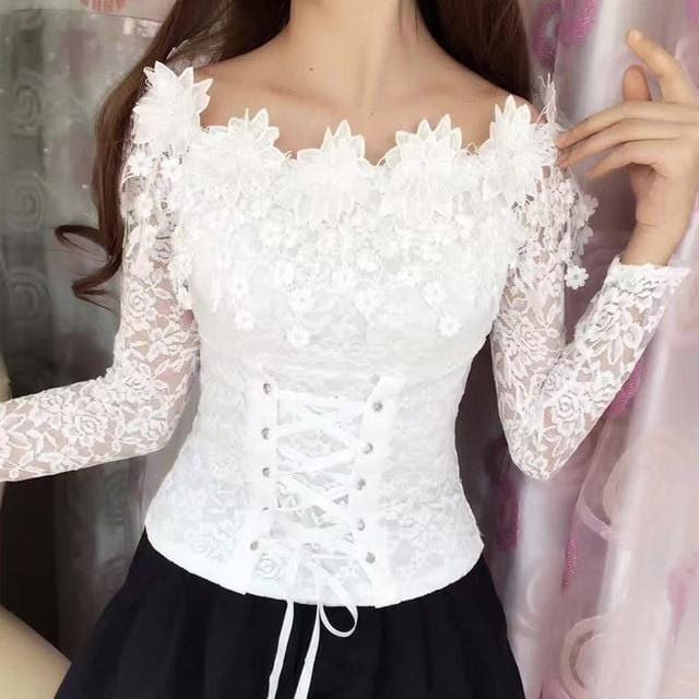 Long Sleeve Chic Lace Top White