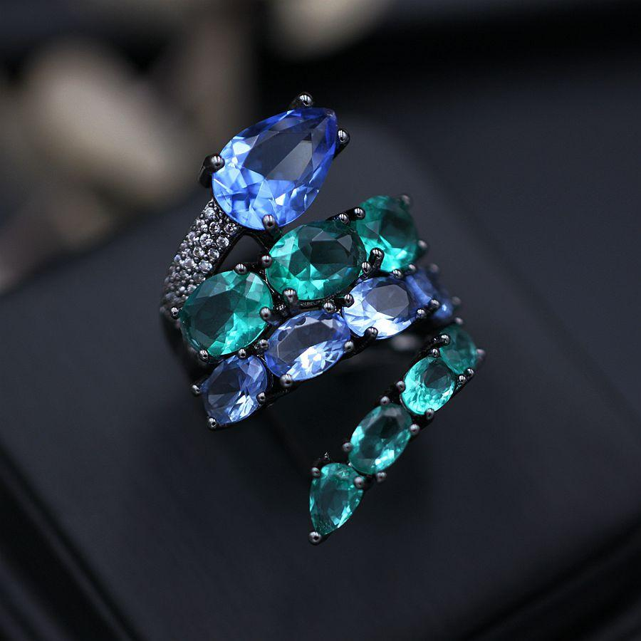 Blue Green Glass Crystal Snake Finger Ring