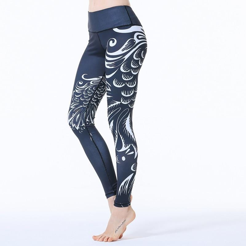 Hollow Splicing Yoga Printed Trousers