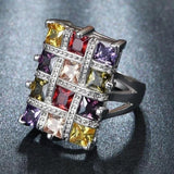 Crystal Multicolor Luxury Statement Wedding Rings