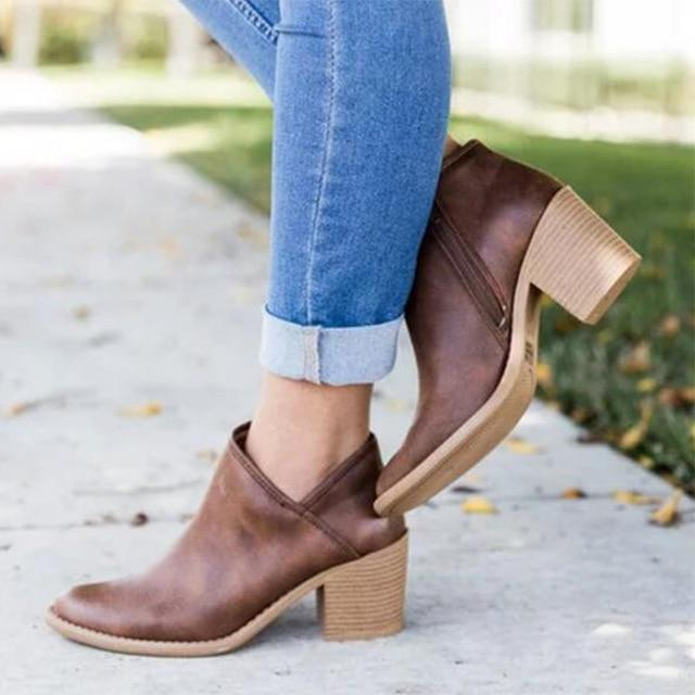 Thick Block Heel Ankle Boots