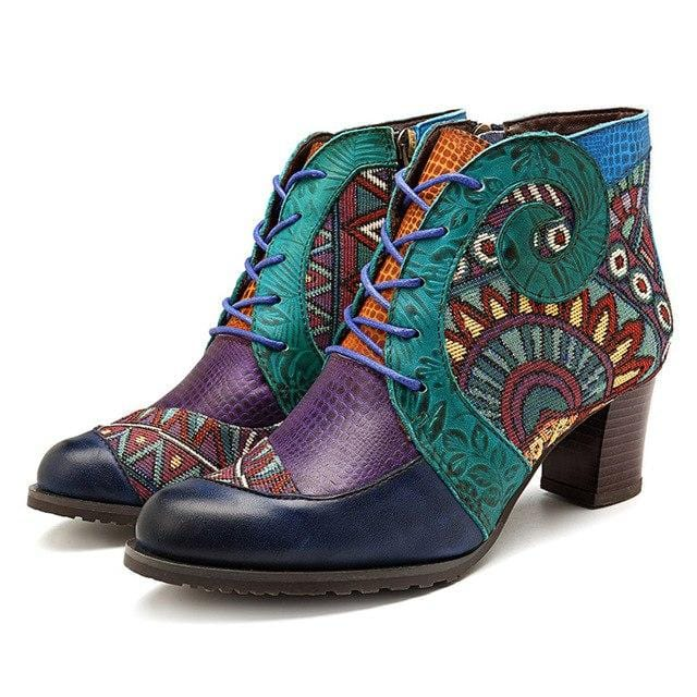 Retro Cowgirl Genuine Leather Ankle Boots