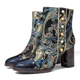 Unique Vintage Print Leather Boots Blue