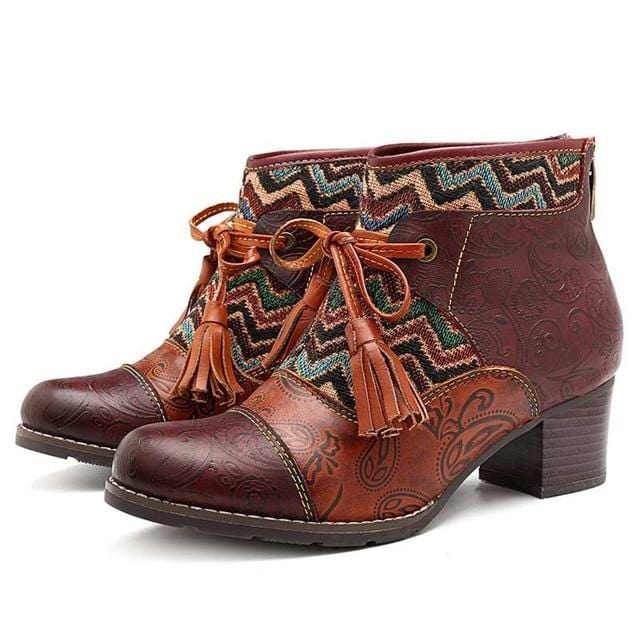 Bowknot Tassel Retro Ankle Boots
