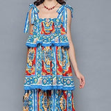 Ruffles Tiered Floral Print Casual Vacation Dress Multi