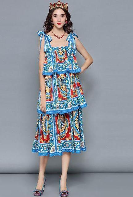Ruffles Tiered Floral Print Casual Vacation Dress