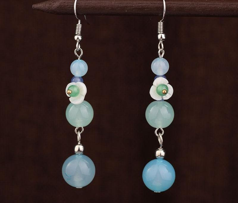 Handmade Sky Blue Exotic Drop Earrings
