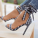 Scottish Plaid Print Ankle Strap Party Bow High Heels