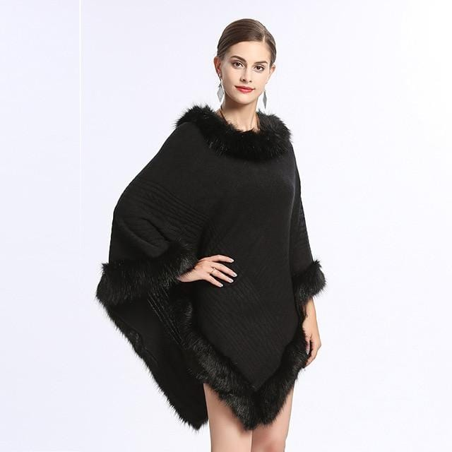 Knitted Cape Faux Fur Pullover