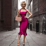 Spaghetti Strapless  Mermaid Women Sexy Dress Rose Red