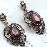 Rhinestone Dangle Ancient Gold Color Crystal Earring
