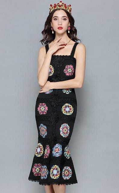 Designer Floral Embroidery Bodycon Dress