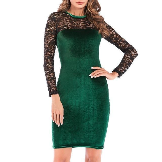 Unique Lace Velvet Party Dress